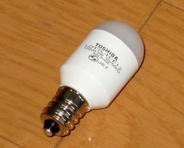 寝室には明るすぎるかも – 常夜灯 東芝 電球形LEDランプ LDT1L-H-E12
