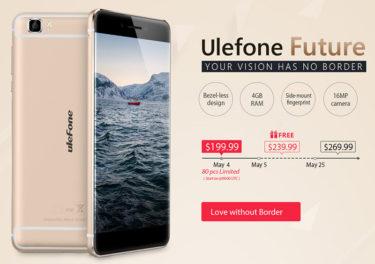 中華スマートフォン【Ulefone Future】2万円切りのベゼルレススマートフォンをセール中に予約できた
